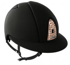 Přilba KEP cromo textil black Polo/rose gold/uši krystal